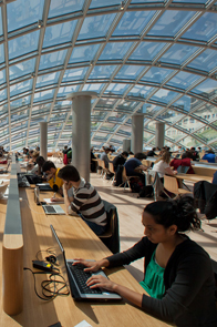 The Joe and Rika Mansueto Library provides a study space on campus.