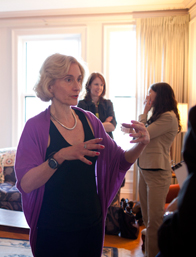 Professor Martha Nussbaum holds a seminar in her home.